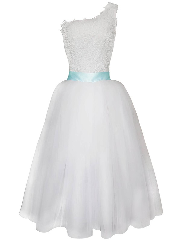 Detachable White Lace Chiffon Sashes / Ribbons One Shoulder Wedding Dress #PWD00020825