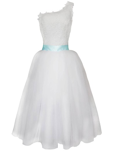 Detachable White Lace Chiffon Sashes / Ribbons One Shoulder Wedding Dress #PWD00020825