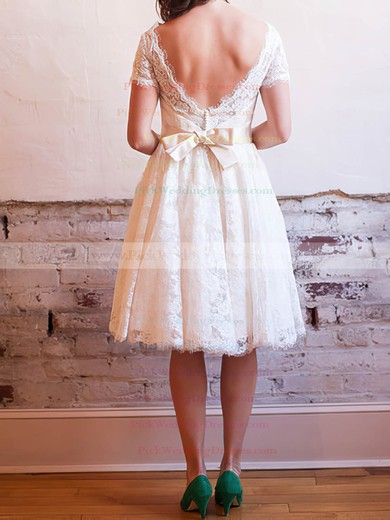Ivory Knee-length V-neck Vintage Lace with Bow Wedding Dress #PWD00020830