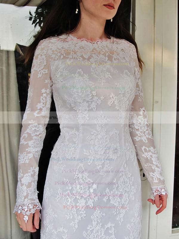 Elegant Long Sleeve Sheath/Column Lace Draped Scoop Neck Wedding Dress #PWD00020832