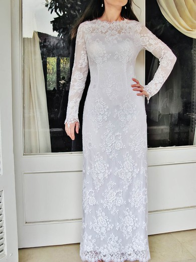 Elegant Long Sleeve Sheath/Column Lace Draped Scoop Neck Wedding Dress #PWD00020832