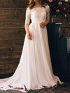 Off-the-shoulder Chiffon Lace and Open Back White Stunning 1/2 Sleeve Wedding Dresses #PWD00020839