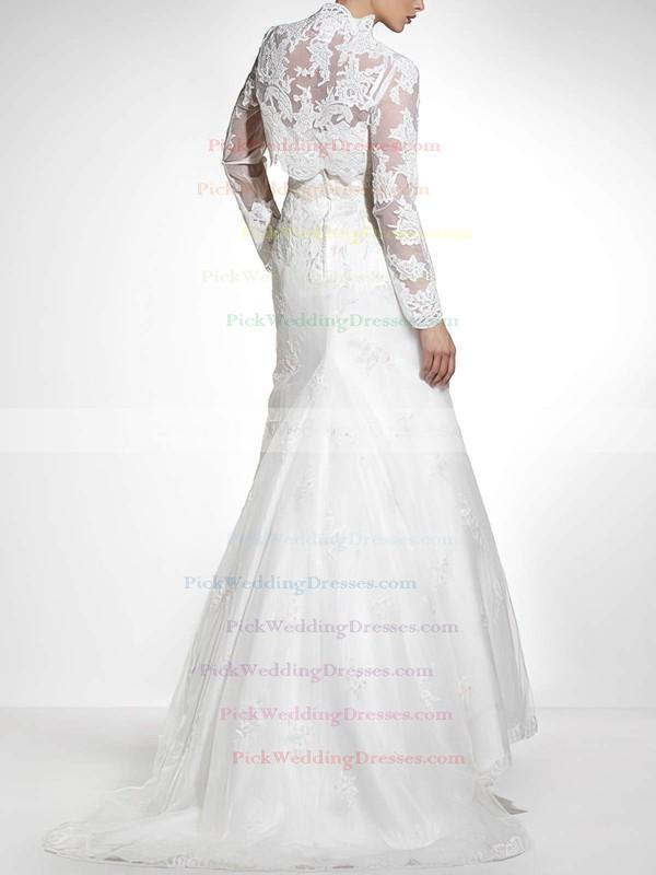 Strapless Trumpet/Mermaid Unique Lace with Appliques Lace Wedding Dresses #PWD00020840