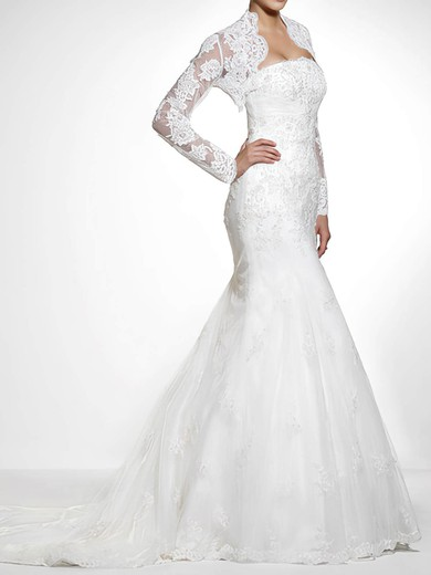 Strapless Trumpet/Mermaid Unique Lace with Appliques Lace Wedding Dresses #PWD00020840