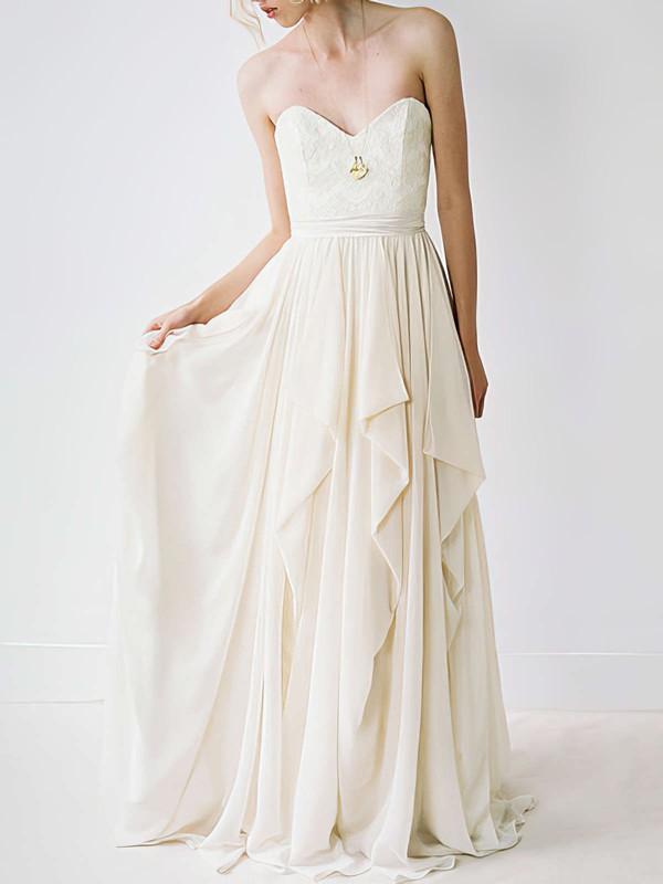 Hot Sweetheart Ivory Chiffon Court Train Lace Wedding Dress #PWD00020848