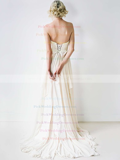 Hot Sweetheart Ivory Chiffon Court Train Lace Wedding Dress #PWD00020848