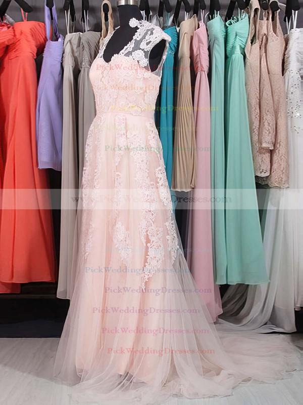 Pink V-neck Tulle Sweep Train Appliques Lace Vintage Wedding Dresses #PWD00020863