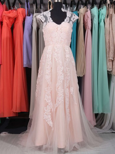 Pink V-neck Tulle Sweep Train Appliques Lace Vintage Wedding Dresses #PWD00020863