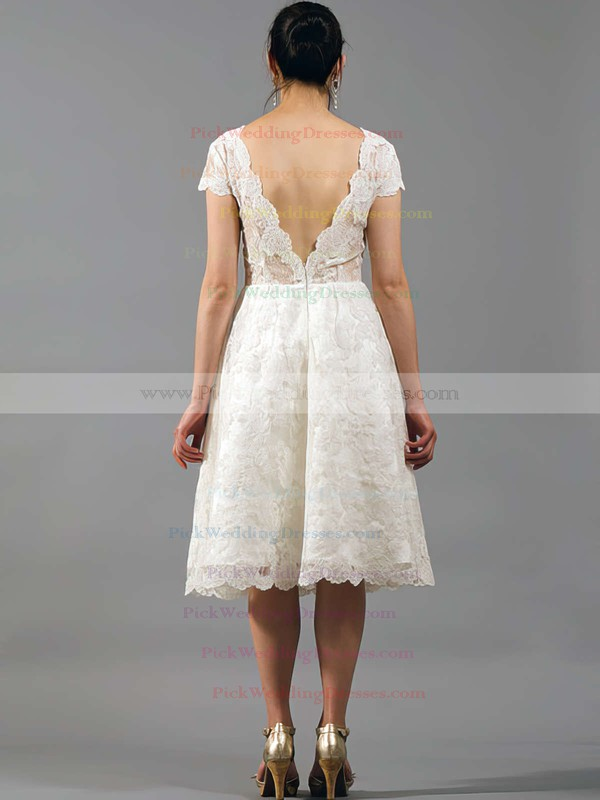 Knee-length V-neck Vintage Lace Draped with Short Sleeve Wedding Dresses #PWD00020864
