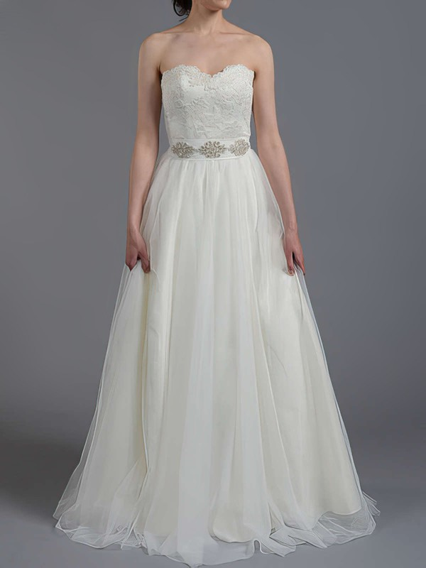 Sweep Train Sweetheart Best Tulle Lace Sashes / Ribbons Wedding Dress #PWD00020865