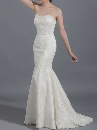 Elegant Trumpet/Mermaid Ivory Lace Sweep Train Draped Wedding  Dresses #PWD00020866