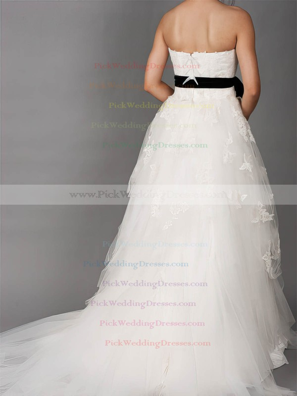 Court Train Lace Tulle Different Strapless Sashes / Ribbons Wedding Dresses #PWD00020882
