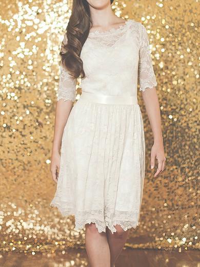 1/2 Sleeve Ivory Lace Sheath/Column Sashes/Ribbons Knee-length Wedding Dresses #PWD00020883