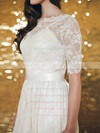 1/2 Sleeve Ivory Lace Sheath/Column Sashes/Ribbons Knee-length Wedding Dresses #PWD00020883