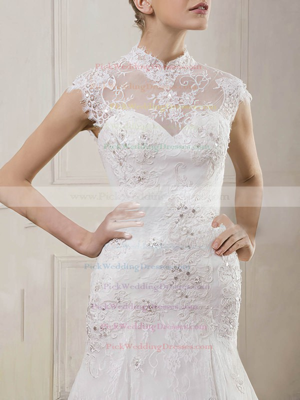 Newest Trumpet/Mermaid Lace Beading High Neck Wedding Dress #PWD00020901