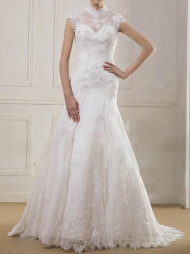 Newest Trumpet/Mermaid Lace Beading High Neck Wedding Dress #PWD00020901