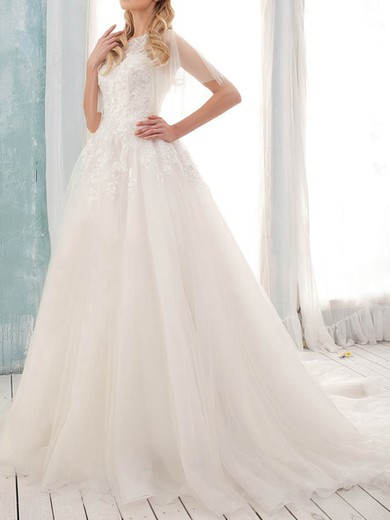 Classy Court Train Scoop Tulle with Appliques Lace Short Sleeve Wedding Dress #PWD00020902