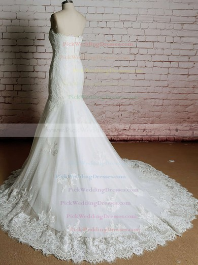 Boutique Sweetheart Appliques Ivory Lace Trumpet/Mermaid Wedding Dress #PWD00020920