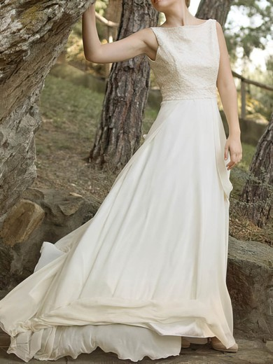 Chiffon Square Neckline Gorgeous Court Train Side-Draped Wedding Dress #PWD00020921