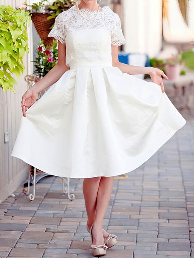 Lace Satin Scalloped Neck Wholesale Knee-length with Pockets Wedding Dress #PWD00020922