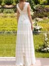 Chiffon and Lace Floor-length Sashes/Ribbons Affordable White V-neck Wedding Dresses #PWD00020925