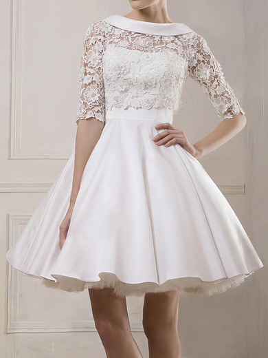 Beautiful Cowl Neck White Lace Satin with 1/2 Sleeve Short/Mini  Wedding Dresses #PWD00020930
