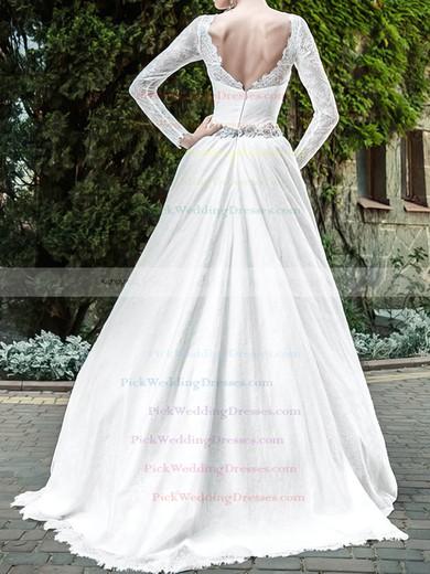 Long Sleeve Scalloped Neck Promotion Lace Satin Sashes / Ribbons Wedding Dresses #PWD00020939