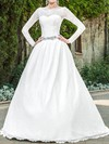 Long Sleeve Scalloped Neck Promotion Lace Satin Sashes / Ribbons Wedding Dresses #PWD00020939