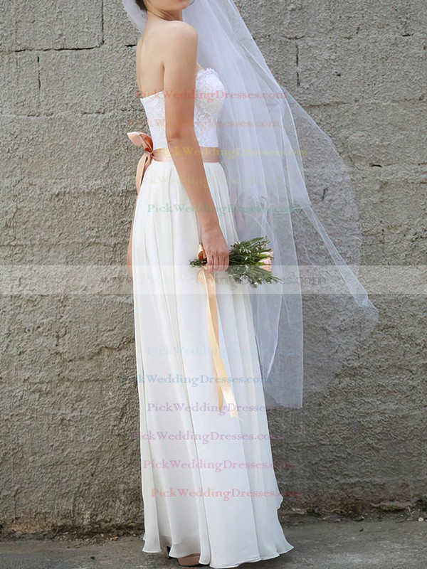Simple A-line White Chiffon and Lace Sweetheart Wedding Dresses #PWD00020954