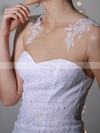 Different Sheath/Column Scoop Neck white Lace Chiffon Appliques Lace Wedding Dress #PWD00020955