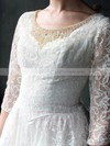Tea-length Scoop Neck White 3/4 Sleeve with Pearl Detailing Bow Lace Wedding Dress #PWD00020958