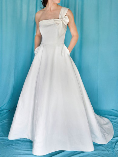 Sweep Train One Shoulder Wholesale Satin with Bow Wedding Dress #PWD00020959