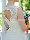 Tulle Scoop Neck Lace Ivory Ladies Tea-length Wedding Dresses #PWD00020974