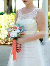 Tulle Scoop Neck Lace Ivory Ladies Tea-length Wedding Dresses #PWD00020974