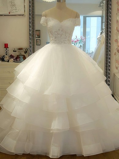 Gorgeous Off-the-shoulder Ivory Organza Tiered Lace-up Court Train Wedding Dress #PWD00020986