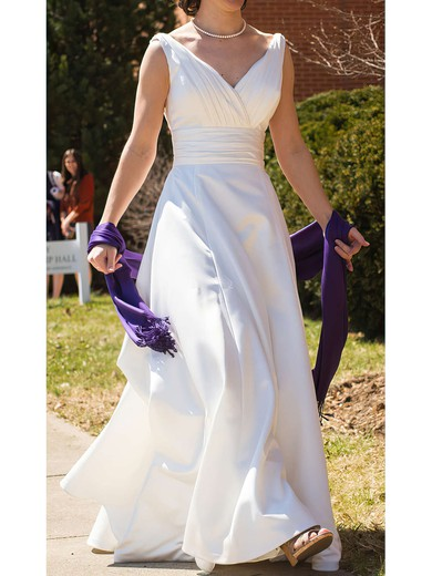 Court Train V-neck White Perfect Satin Ruffles Wedding Dresses #PWD00020991