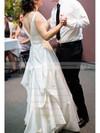 Court Train V-neck White Perfect Satin Ruffles Wedding Dresses #PWD00020991