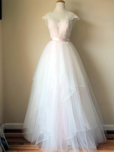 V-neck Cap Straps Gorgeous Satin Tulle Lace Wedding Dresses #PWD00020993