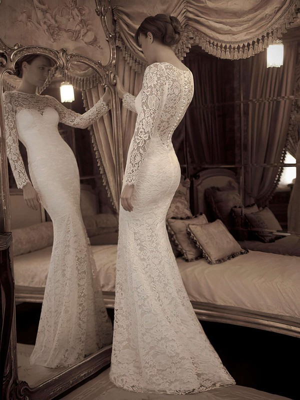 Elegant Ivory Lace Scoop Neck Trumpet/Mermaid Long Sleeve Wedding Dresses #PWD02016861