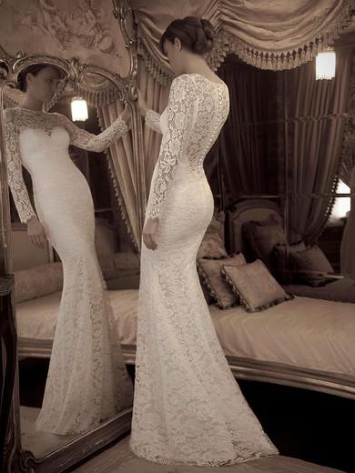 c73d35068d25f Elegant Ivory Lace Scoop Neck Trumpet/Mermaid Long Sleeve Wedding Dresses  #PWD02016861