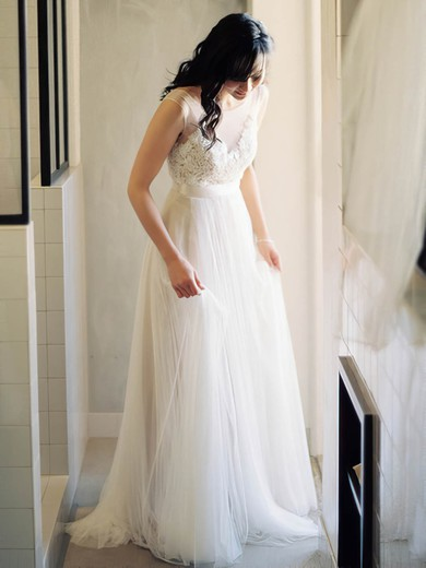 Scoop Neck Ivory Tulle with Appliques Lace Promotion Wedding Dress #PWD02016882