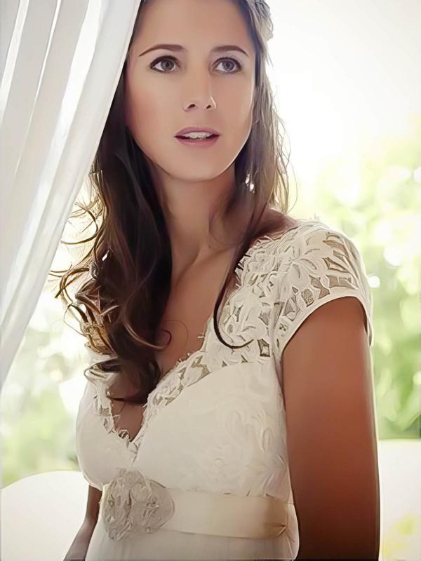 Sheath/Column Ivory V-neck Tulle Lace Cap Straps Open Back Unusual Wedding Dress #PWD02016957