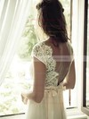 Sheath/Column Ivory V-neck Tulle Lace Cap Straps Open Back Unusual Wedding Dress #PWD02016957