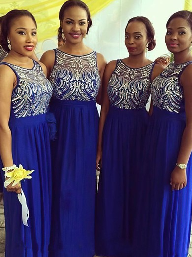 Scoop Neck Chiffon Tulle with Sparkly Beading Royal Blue Bridesmaid Dresses #PWD01012227
