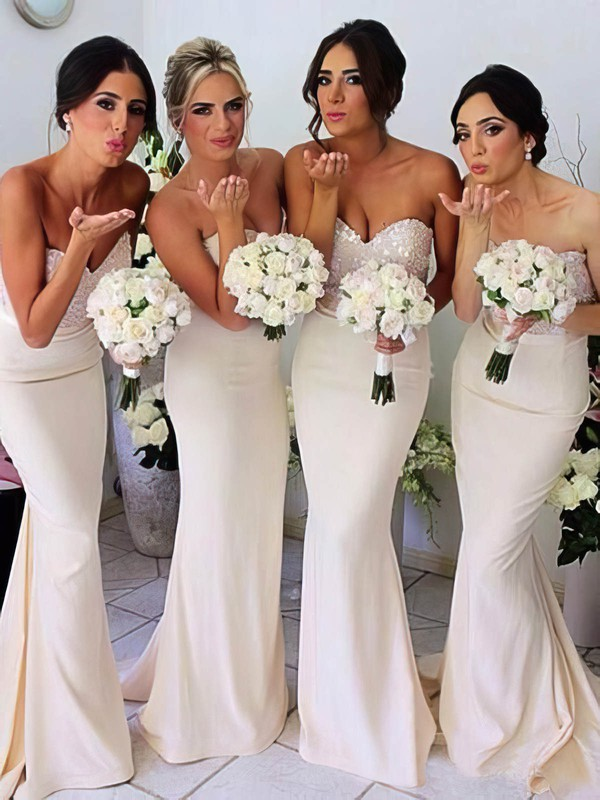 Designer Ivory Silk-like Satin Sequined Sweetheart Trumpet/Mermaid Bridesmaid Dresses #PWD01012230