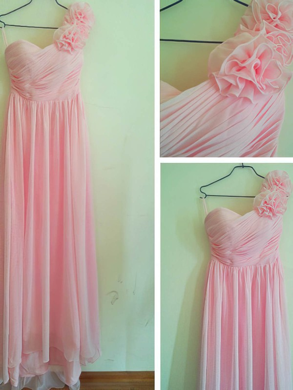 Sheath/Column Floor-length Chiffon Flower(s) Sweetheart Bridesmaid Dresses #PWD02016880