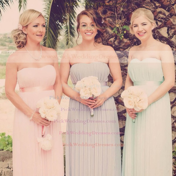 A-line Floor-length Chiffon Bow Strapless Bridesmaid Dresses #PWD02016950