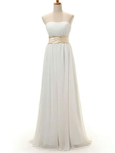 A-line Floor-length Chiffon Bow Strapless Bridesmaid Dresses #PWD02016950