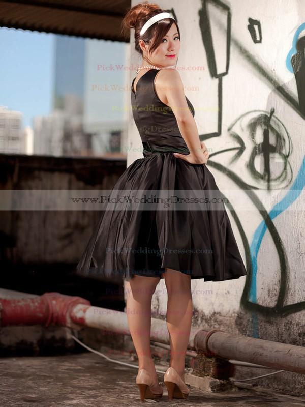 A-line Knee-length Satin Ruffles Scoop Neck Bridesmaid Dresses #PWD02018097