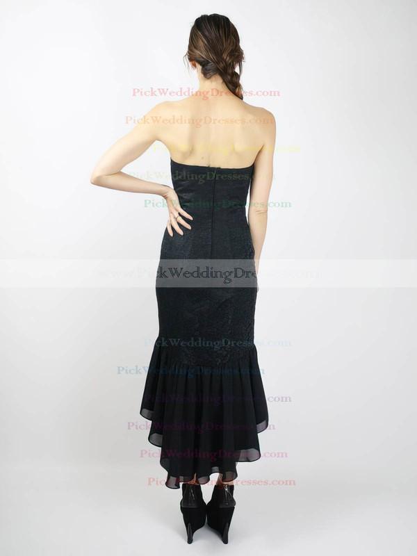 Sheath/Column Asymmetrical Lace Chiffon Satin Ruffles Sweetheart Bridesmaid Dresses #PWD02018098